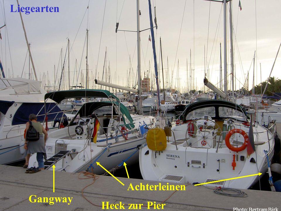 Liegearten Achterleinen Gangway Heck zur Pier Bertram Birk 2005/2009