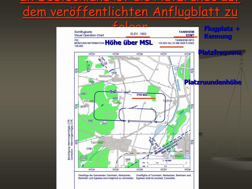 In Deutschland ist die Platzrunde auf dem veröffentlichten Anflugblatt zu folgen