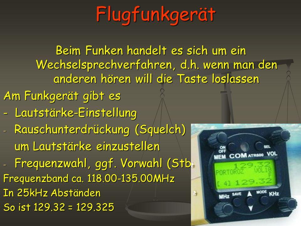 Flugfunkgerät Beim Funken handelt es sich um ein Wechselsprechverfahren, d.h. wenn man den anderen hören will die Taste loslassen.