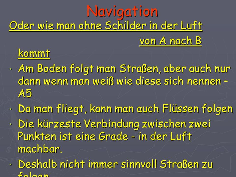 Navigation Oder wie man ohne Schilder in der Luft von A nach B kommt