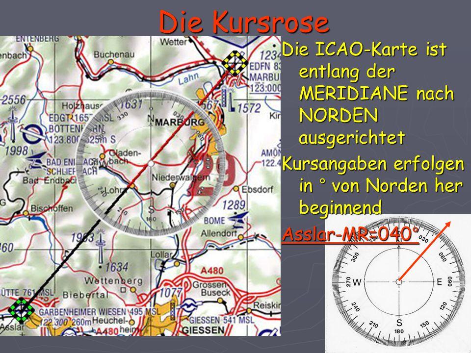 Die Kursrose Die ICAO-Karte ist entlang der MERIDIANE nach NORDEN ausgerichtet. Kursangaben erfolgen in ° von Norden her beginnend.