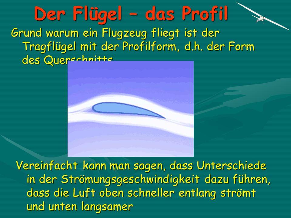Der Flügel – das Profil Grund warum ein Flugzeug fliegt ist der Tragflügel mit der Profilform, d.h. der Form des Querschnitts.