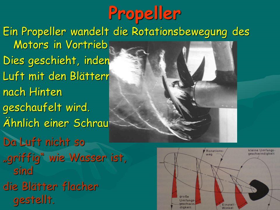 Propeller Ein Propeller wandelt die Rotationsbewegung des Motors in Vortrieb um. Dies geschieht, indem.
