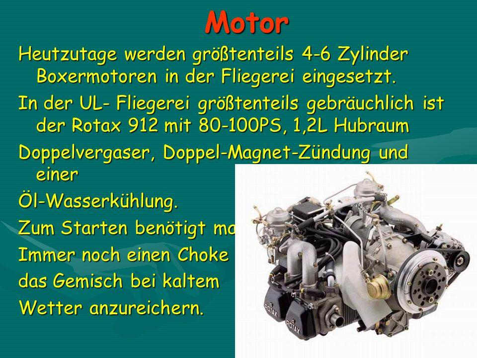 Motor Heutzutage werden größtenteils 4-6 Zylinder Boxermotoren in der Fliegerei eingesetzt.