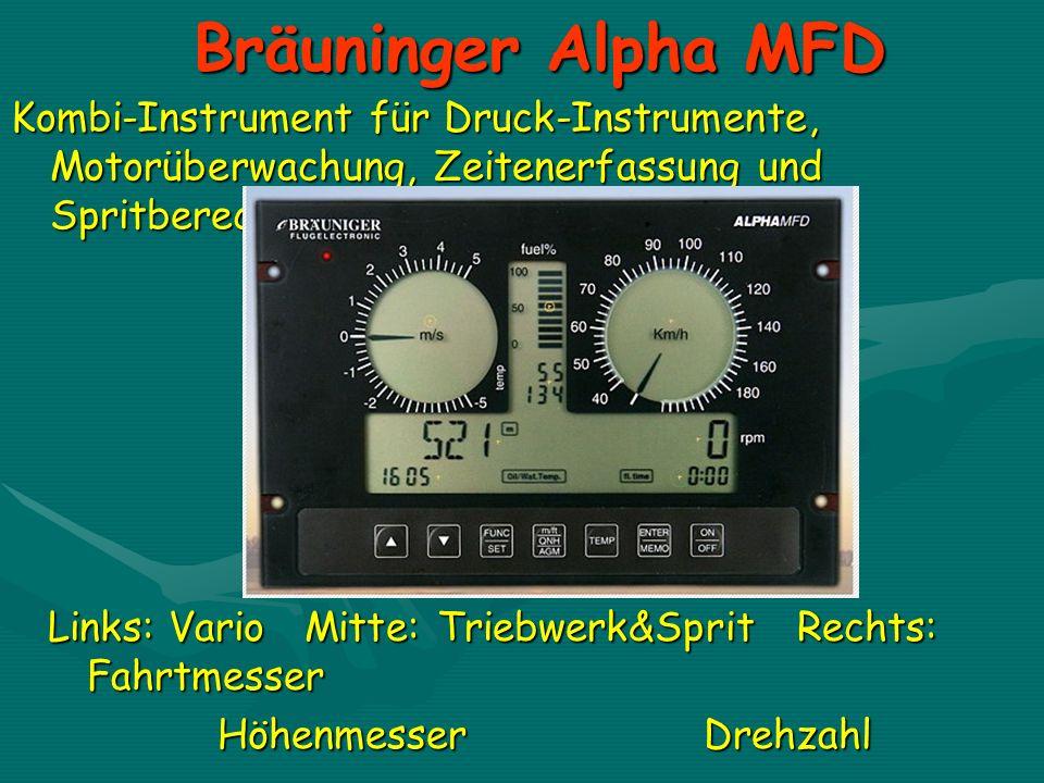 Bräuninger Alpha MFD Kombi-Instrument für Druck-Instrumente, Motorüberwachung, Zeitenerfassung und Spritberechnung.