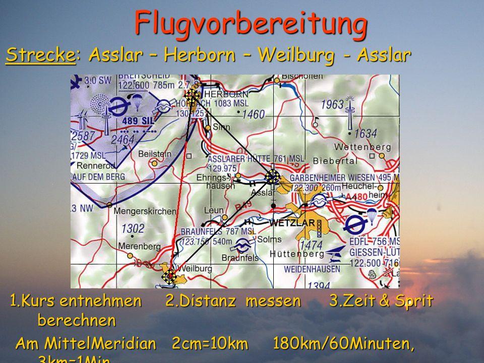 Flugvorbereitung Strecke: Asslar – Herborn – Weilburg - Asslar