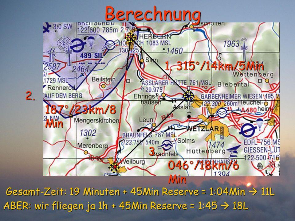 Berechnung 1. 315°/14km/5Min 2. 187°/23km/8Min 3. 046°/18km/6Min
