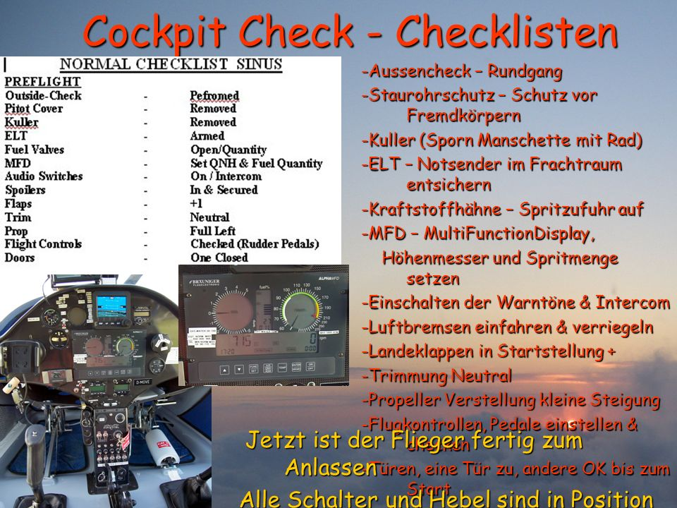 Cockpit Check - Checklisten