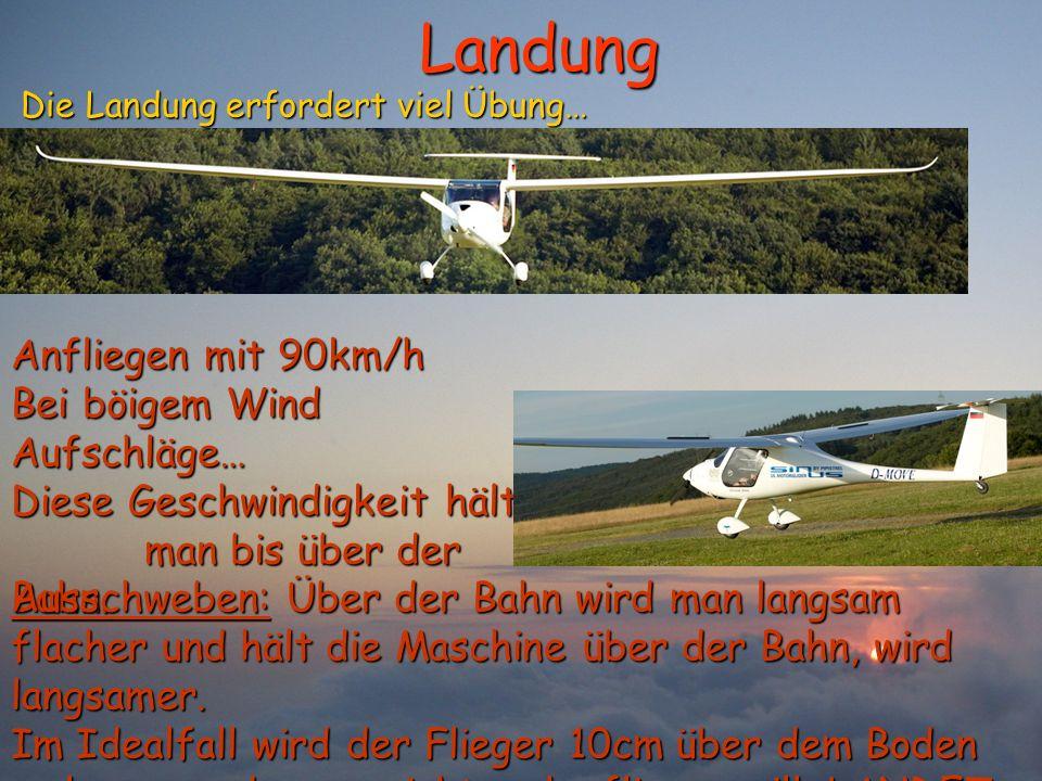 Landung Anfliegen mit 90km/h Bei böigem Wind Aufschläge…
