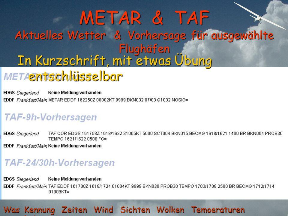 METAR & TAF Aktuelles Wetter & Vorhersage für ausgewählte Flughäfen