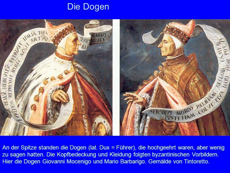 Die Dogen Hier die Dogen Giovanni Mocenigo und Mario Barbarigo. Gemälde von Tintoretto.