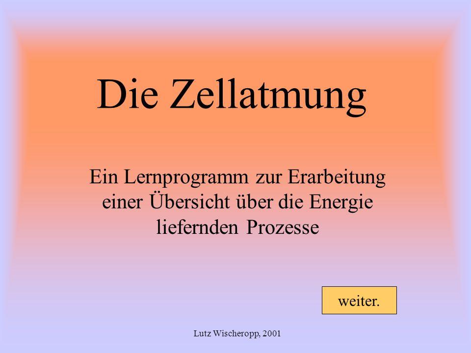 Die Zellatmung Ein Lernprogramm zur Erarbeitung einer Übersicht über die Energie liefernden Prozesse.