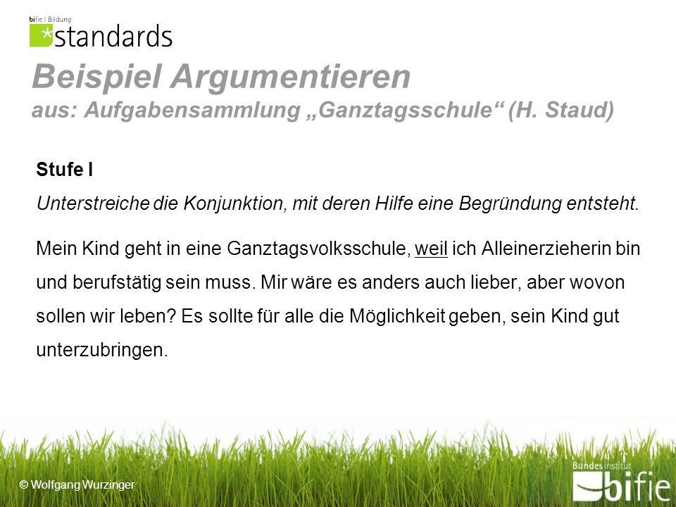 """Beispiel Argumentieren aus: Aufgabensammlung """"Ganztagsschule (H"""