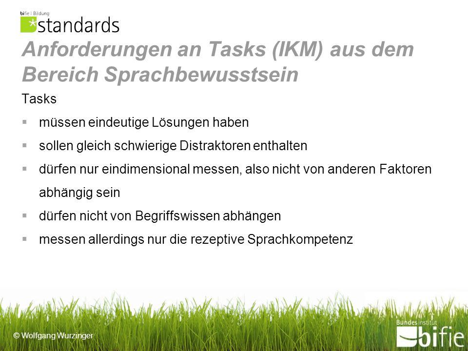 Anforderungen an Tasks (IKM) aus dem Bereich Sprachbewusstsein