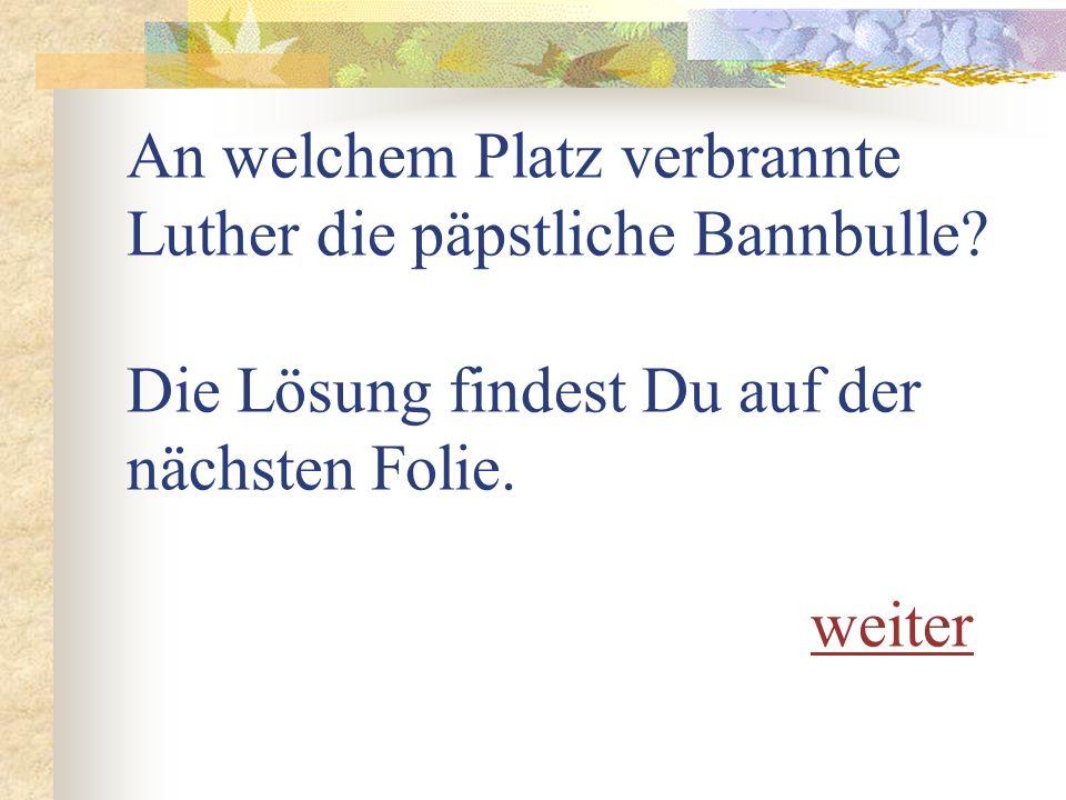 An welchem Platz verbrannte Luther die päpstliche Bannbulle