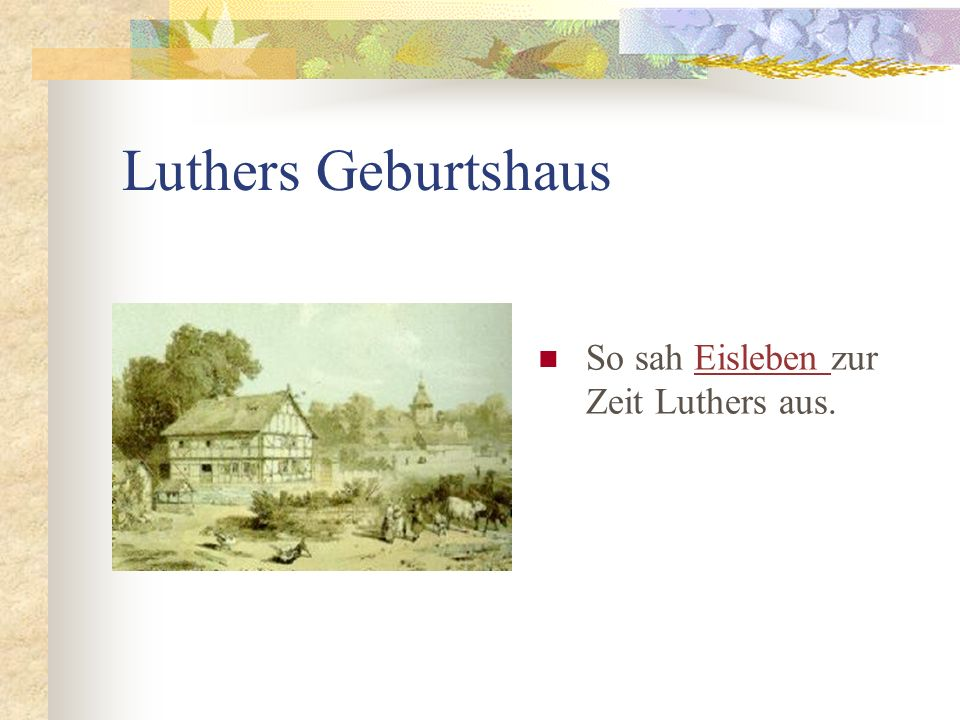 Luthers Geburtshaus So sah Eisleben zur Zeit Luthers aus.