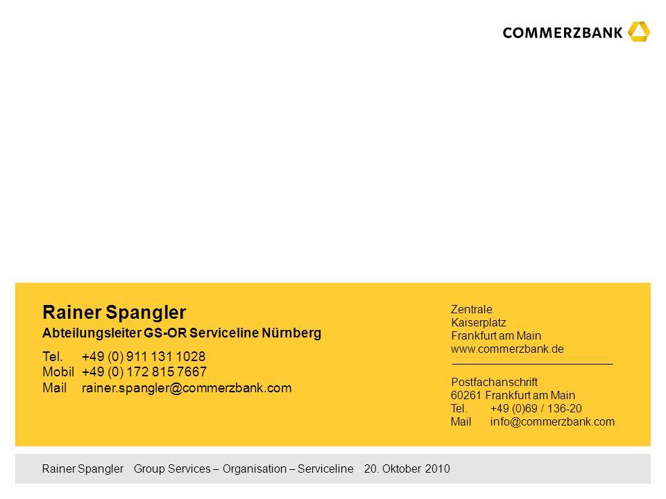 Rainer Spangler Abteilungsleiter GS-OR Serviceline Nürnberg