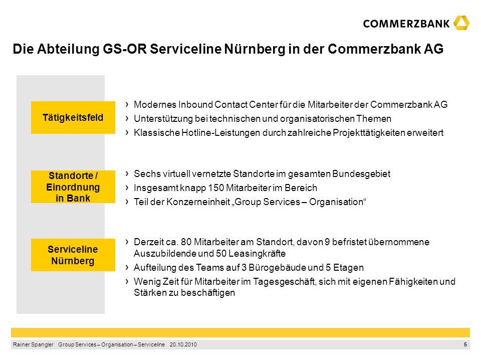 Die Abteilung GS-OR Serviceline Nürnberg in der Commerzbank AG