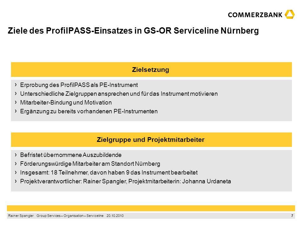 Ziele des ProfilPASS-Einsatzes in GS-OR Serviceline Nürnberg