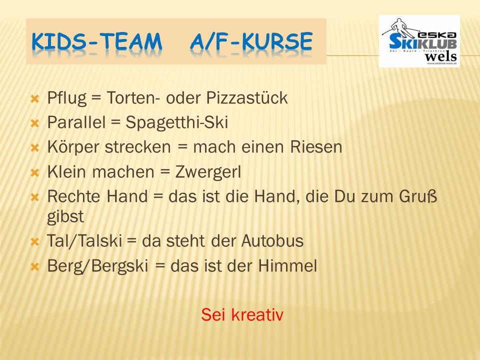 Kids-Team A/F-Kurse Pflug = Torten- oder Pizzastück