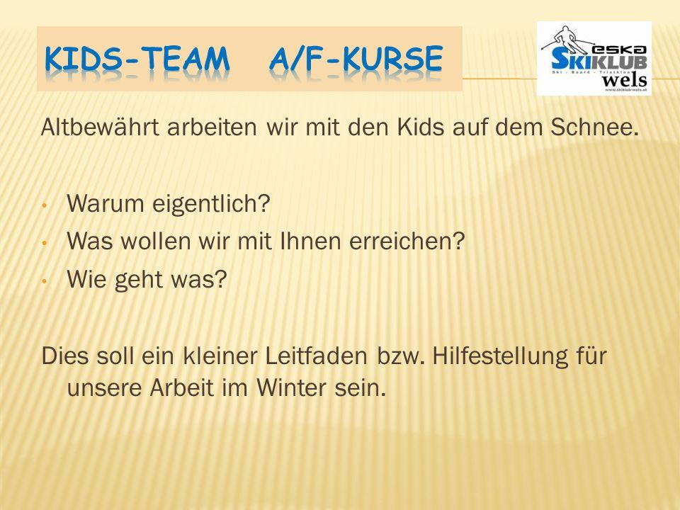 Kids-Team A/F-Kurse Altbewährt arbeiten wir mit den Kids auf dem Schnee. Warum eigentlich Was wollen wir mit Ihnen erreichen