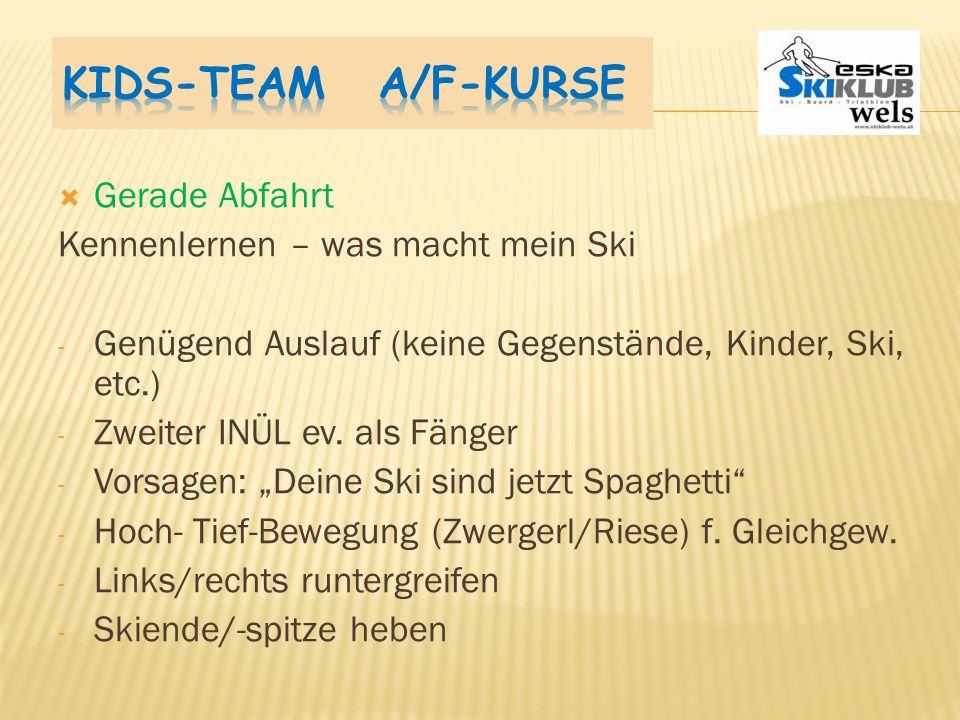 Kids-Team A/F-Kurse Gerade Abfahrt Kennenlernen – was macht mein Ski