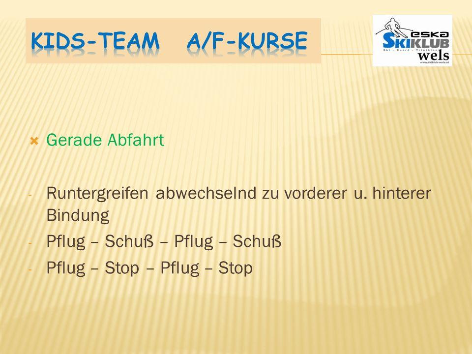 Kids-Team A/F-Kurse Gerade Abfahrt
