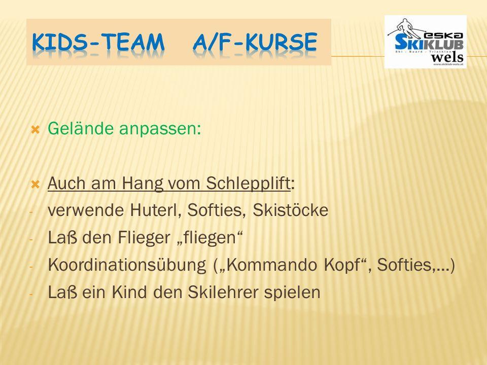 Kids-Team A/F-Kurse Gelände anpassen: Auch am Hang vom Schlepplift: