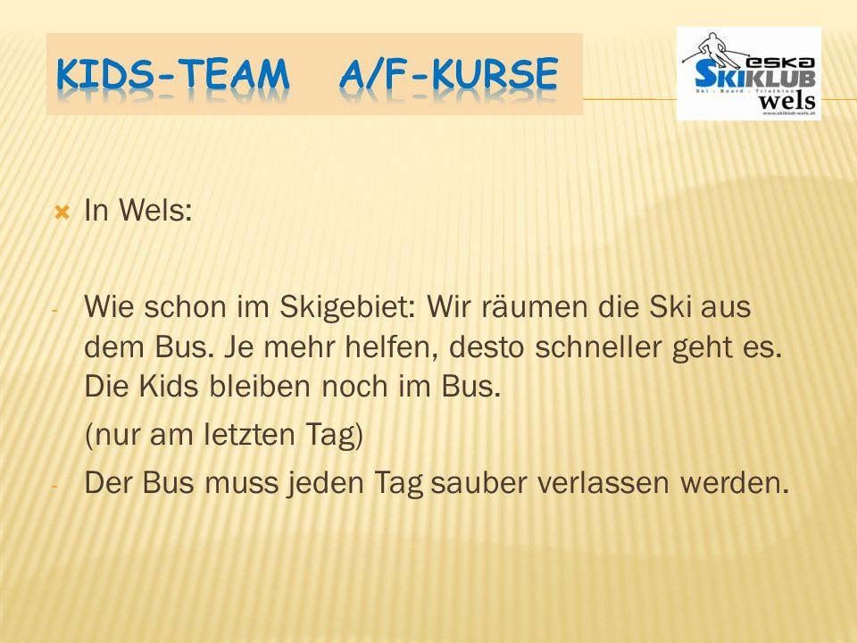 Kids-Team A/F-Kurse In Wels: