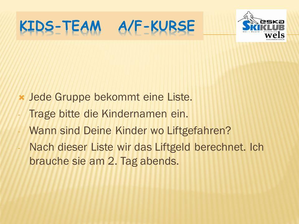 Kids-Team A/F-Kurse Jede Gruppe bekommt eine Liste.