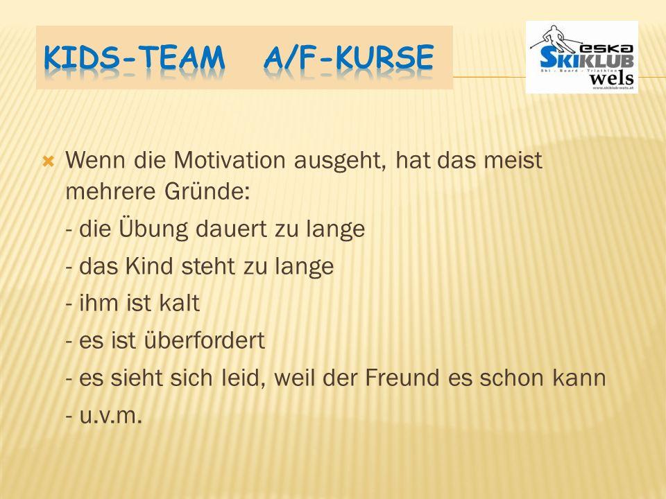Kids-Team A/F-Kurse Wenn die Motivation ausgeht, hat das meist mehrere Gründe: - die Übung dauert zu lange.
