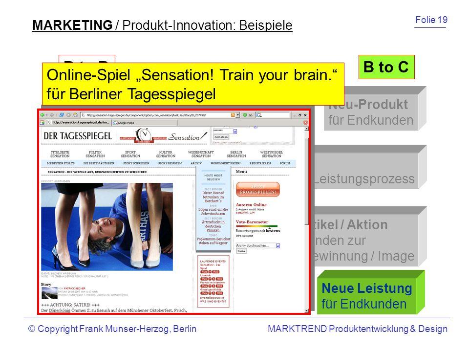 """Online-Spiel """"Sensation! Train your brain. für Berliner Tagesspiegel"""