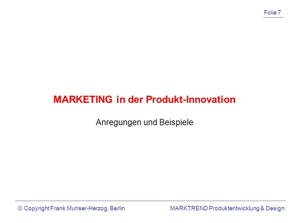 MARKETING in der Produkt-Innovation