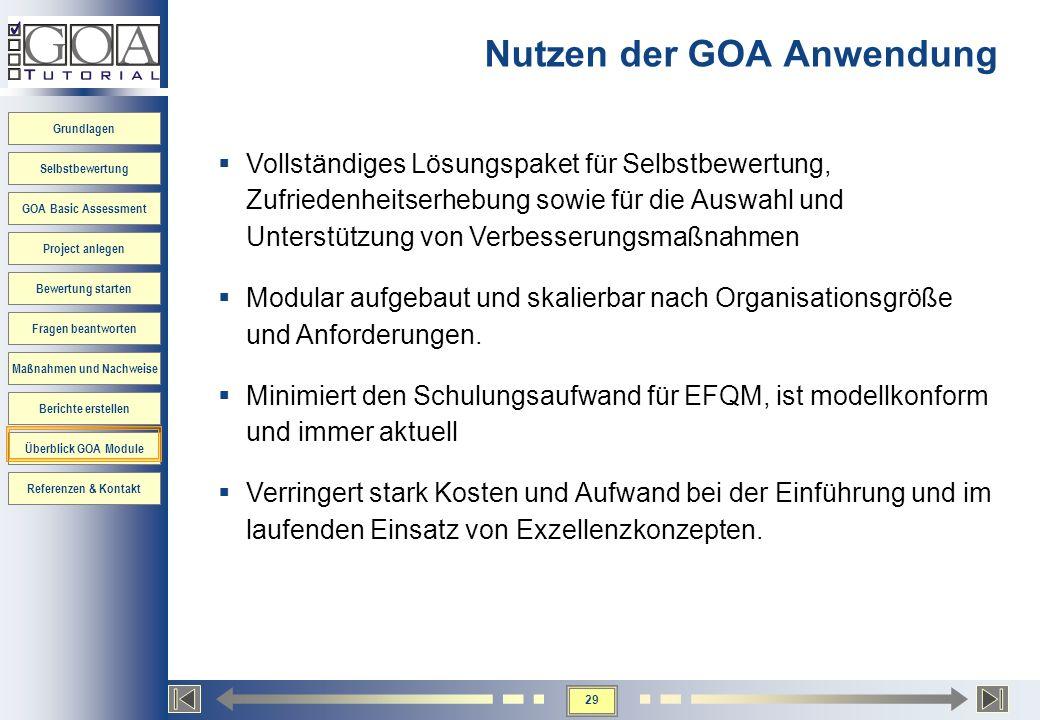 Nutzen der GOA Anwendung