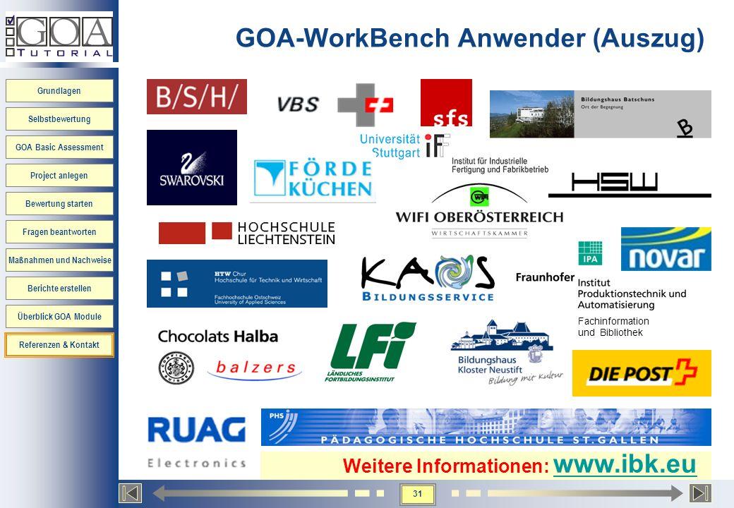 GOA-WorkBench Anwender (Auszug)