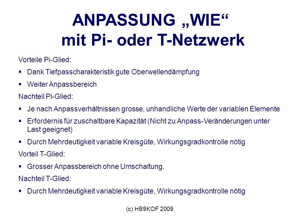 """ANPASSUNG """"WIE mit Pi- oder T-Netzwerk"""