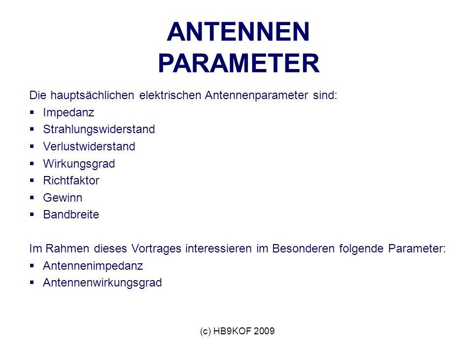 ANTENNEN PARAMETER Die hauptsächlichen elektrischen Antennenparameter sind: Impedanz. Strahlungswiderstand.