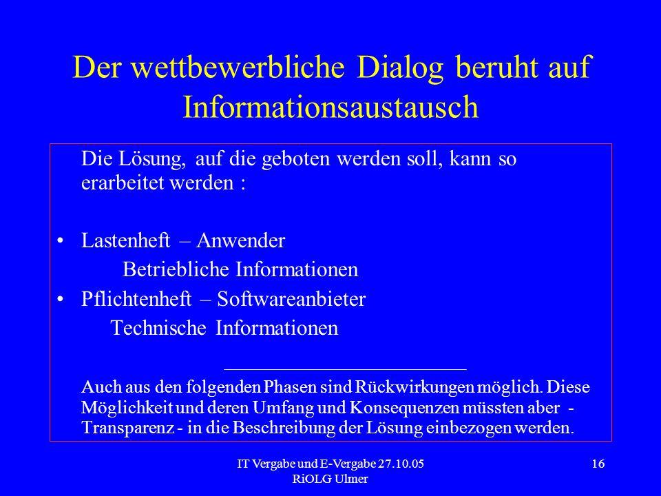Der wettbewerbliche Dialog beruht auf Informationsaustausch