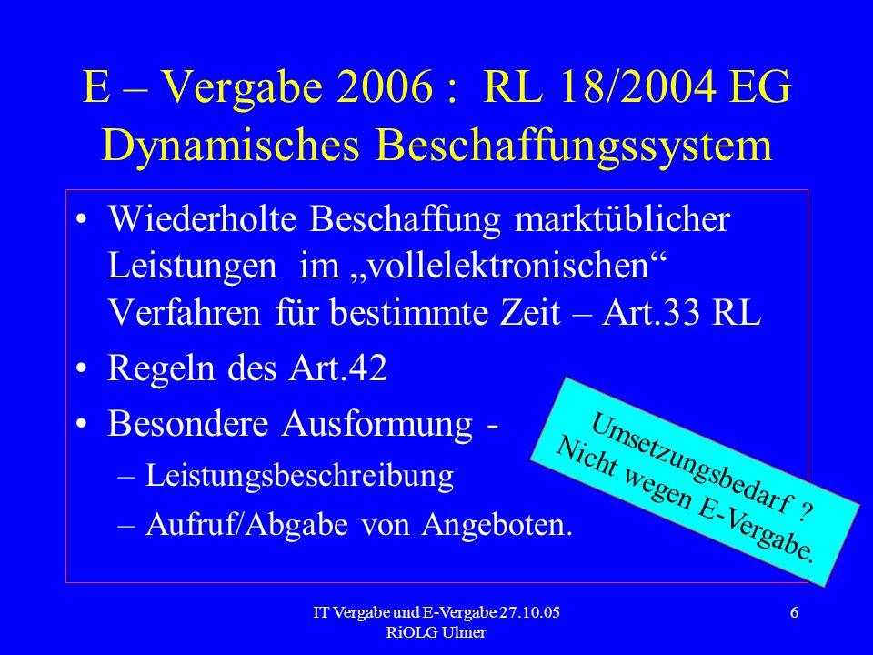 E – Vergabe 2006 : RL 18/2004 EG Dynamisches Beschaffungssystem