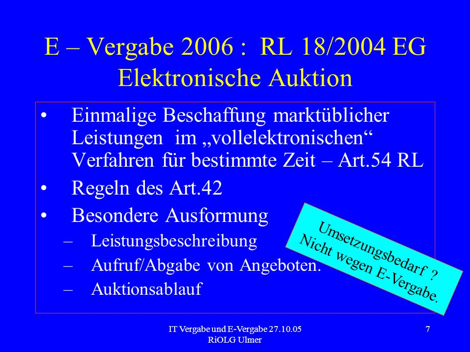 E – Vergabe 2006 : RL 18/2004 EG Elektronische Auktion