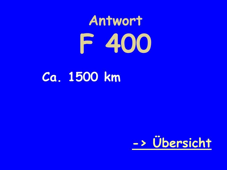 Antwort F 400 Ca. 1500 km -> Übersicht