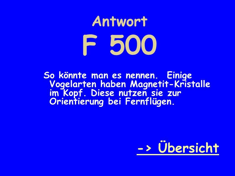 Antwort F 500 -> Übersicht
