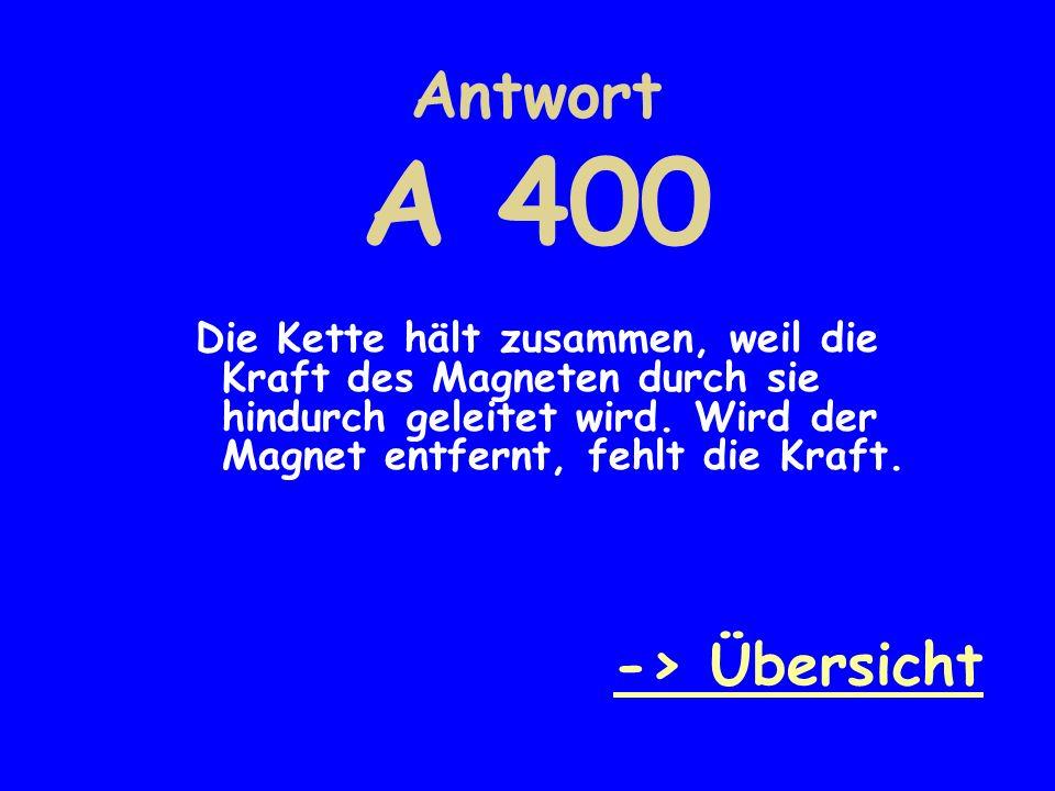 Antwort A 400 -> Übersicht