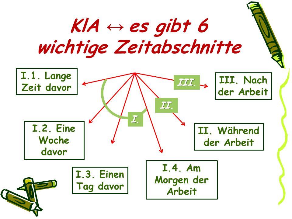 KlA ↔ es gibt 6 wichtige Zeitabschnitte