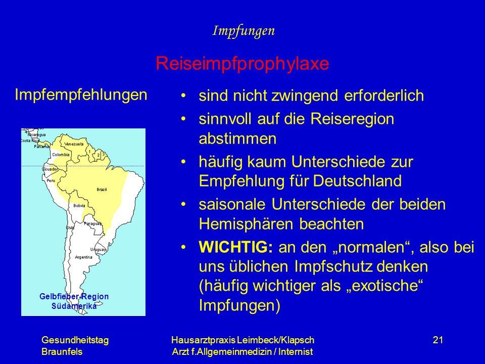 Gelbfieber-Region Südamerika