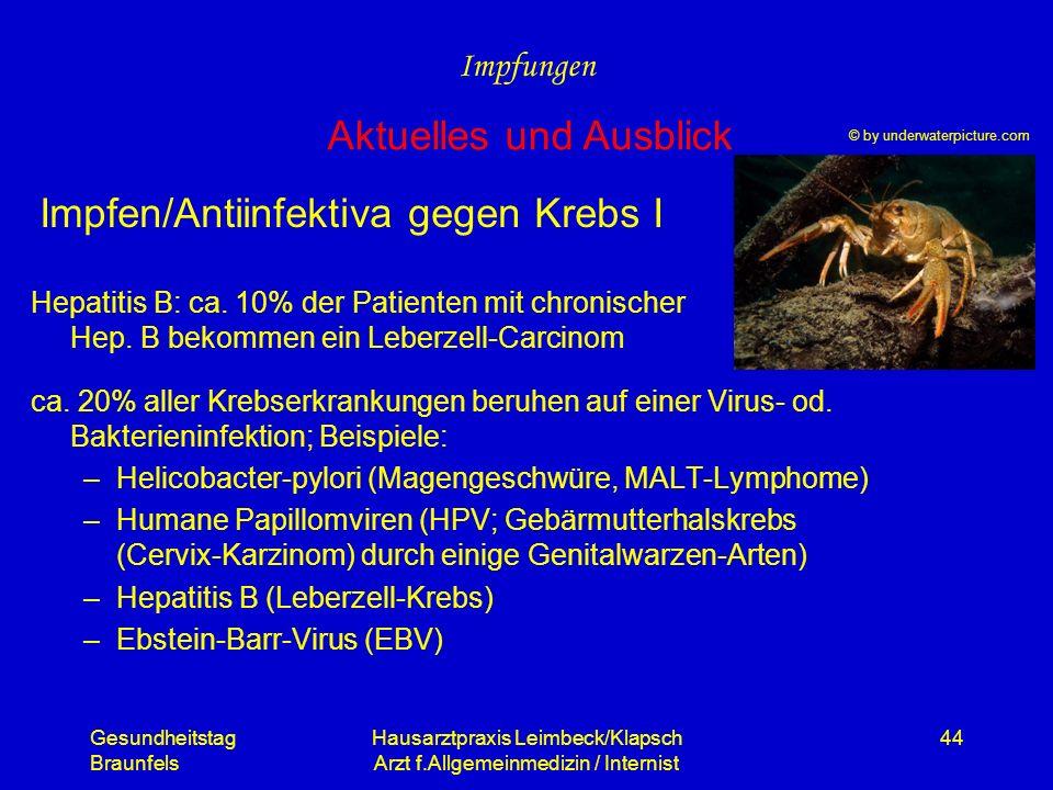 Impfen/Antiinfektiva gegen Krebs I
