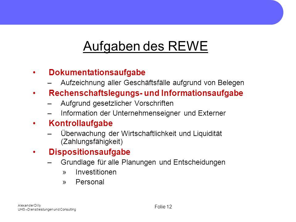 Aufgaben des REWE Dokumentationsaufgabe
