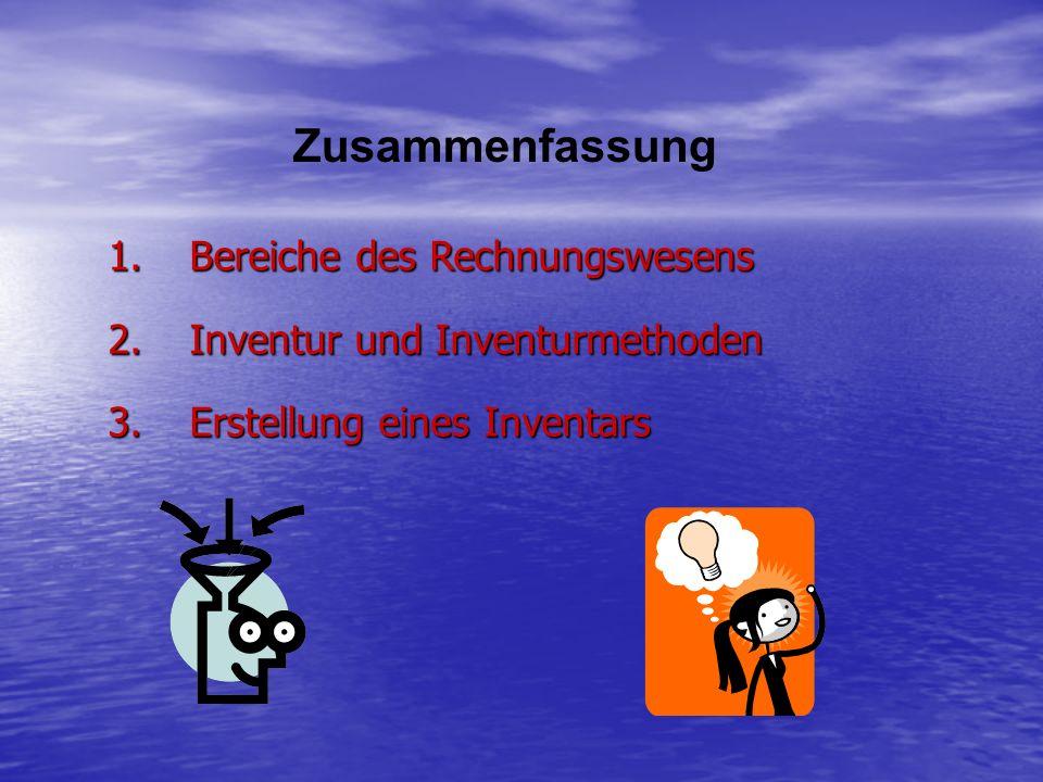 Zusammenfassung Bereiche des Rechnungswesens