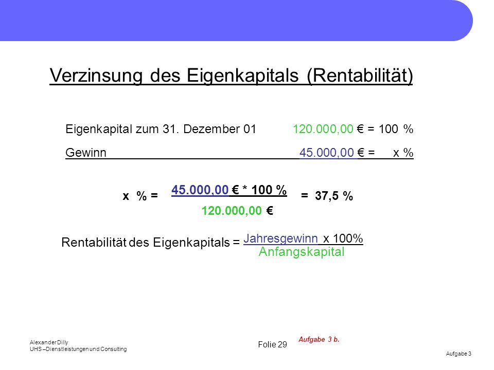 Verzinsung des Eigenkapitals (Rentabilität)