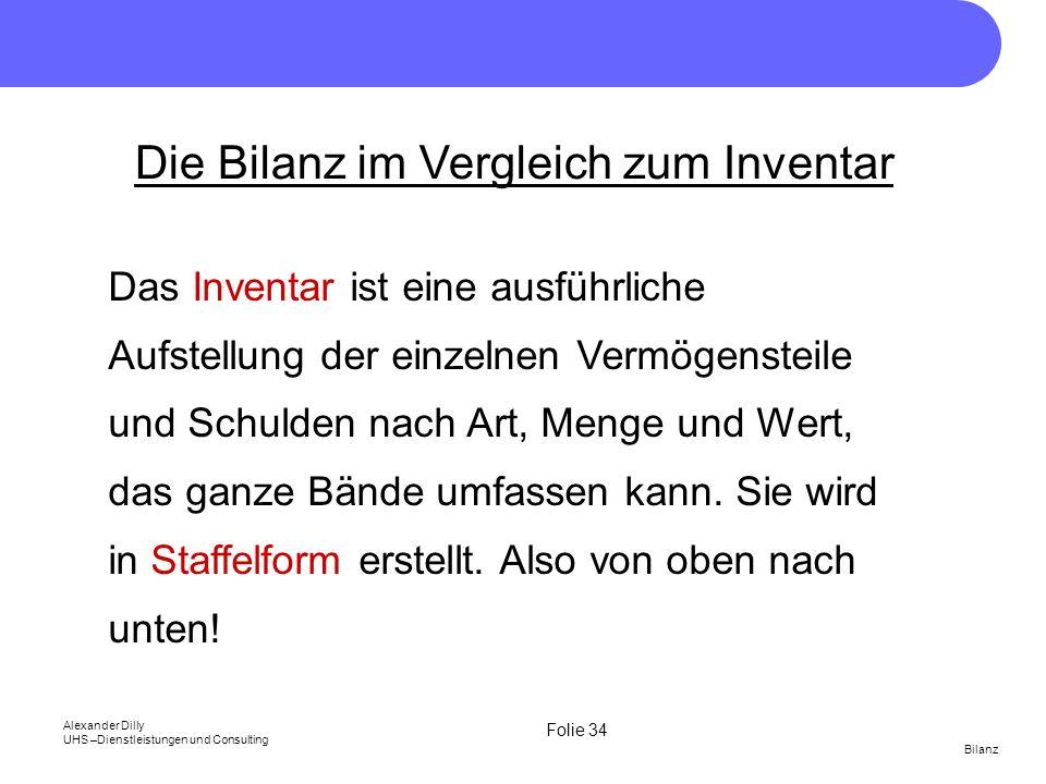Die Bilanz im Vergleich zum Inventar